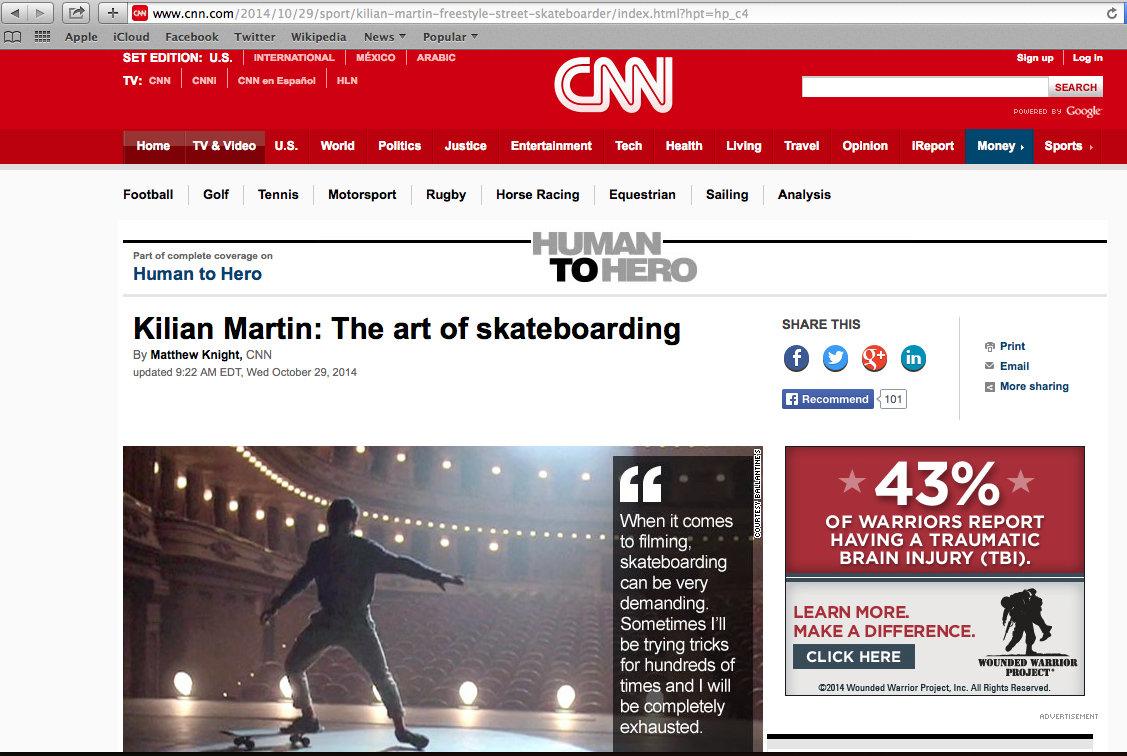 CNN International Human to Hero.  Kilian Martin: The art of skateboarding.